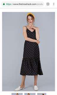 HOLLY DIP HEM DRESS (BLACK POLKA DOTS)  In size M