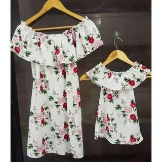 Off shoulder mom & daughter terno dress