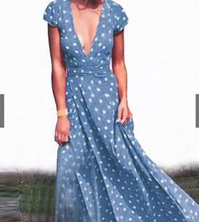 Boho Polka Dot Split Long Maxi Dress