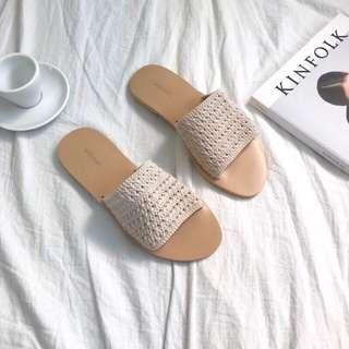 正韓 法式優雅編織拖鞋 象牙白 現貨25