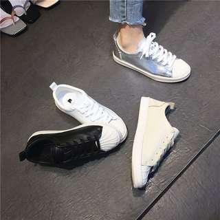 🚚 真皮牛皮奶油頭板鞋小白鞋