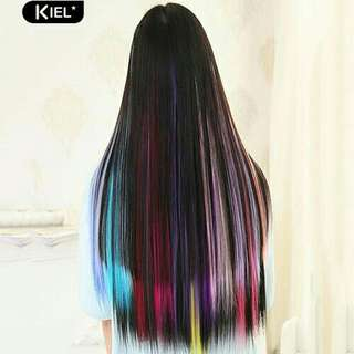 Multicolor Long Straight Synthetic Clip on Hair Extension Piece Cosplay Wig
