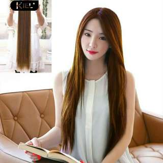 Women Durable 2 Clips Straight Long Hair Extension Cosplay Party Hairpiece Gift