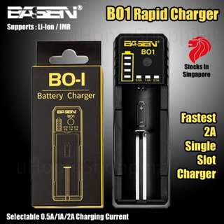 Basen BO1 Single Slot Rapid Charger - 18650 2A Fast Charger