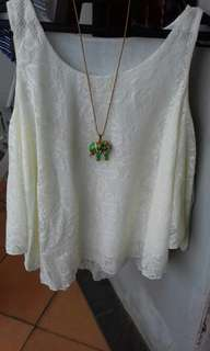 Blus tank top broken white UK fit to L (no deffect)