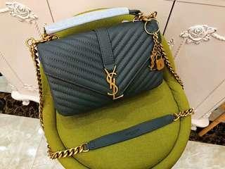 YSL聖羅蘭鏈條包 單肩斜挎包 手提包 灰色金鏈