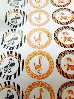 Animal theme sticker label