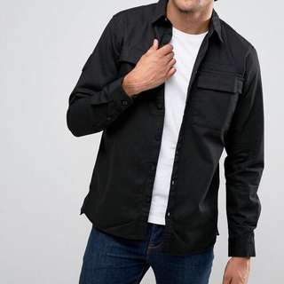Pull & Bear Black Military Shirt with Double Pockets