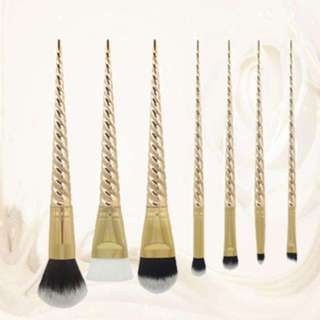(148)7pcs gold unicorn makeup brushes blush cosmetics brush tools powder+silisponge
