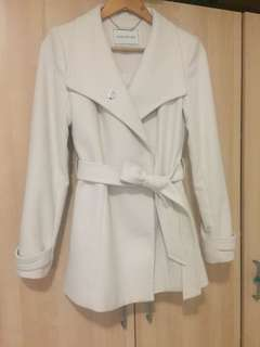 Cream Winter Coat with Belt