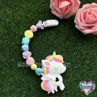 🚚 Handmade Pastel beads Pacifier Clip + Pastel Unicorn teether combo
