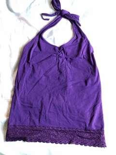 🚚 性感綁脖露肩後綁繞頸式小可愛背心—紫色