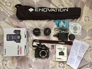 CANON EOS 750D (with kit lens + yongnuo 50 mm lens + tripod + memory card)