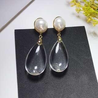 珍珠拼透明珠耳環耳夾 11007 11008