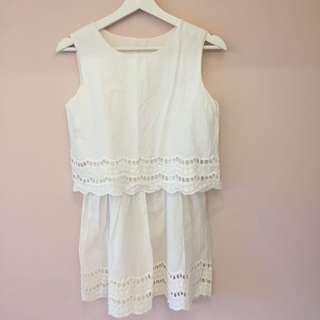 🚚 東大門連線 白色假兩件雕花洋裝