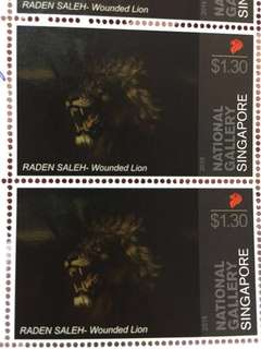 National gallery singapore $1.30 stamps wounded lion