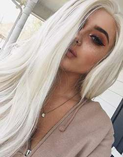 Platinum blonde 26 inch wig (synthetic) lace front wig