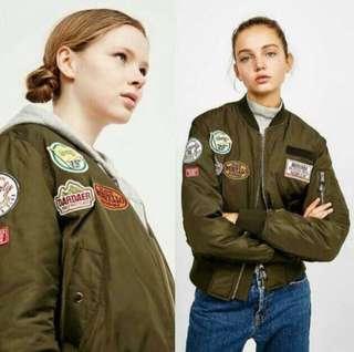 bershka bomber patch army