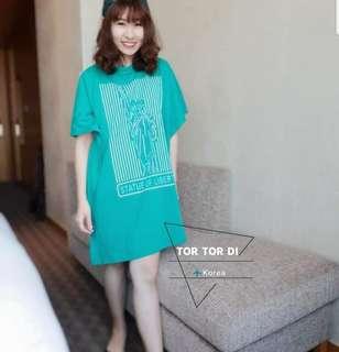🚚 正韓  2018夏季新款  設計師款自由女神長版衫/洋裝