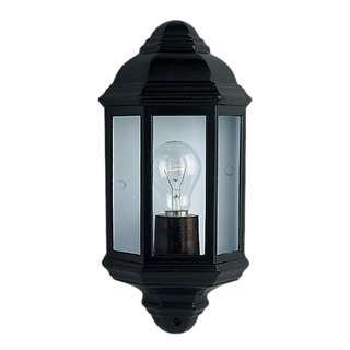 889. Searchlight Outdoor Wall Lights Trapani Dia Cast Black Aluminium Half Lantern Wall Light with Clear Glass Panel/Max 1x60w Screw Bulb