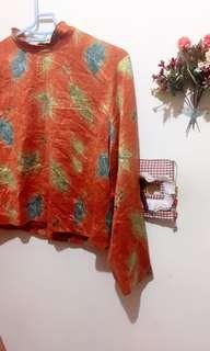 復古亮橘色楓葉樹葉上衣(古著風)