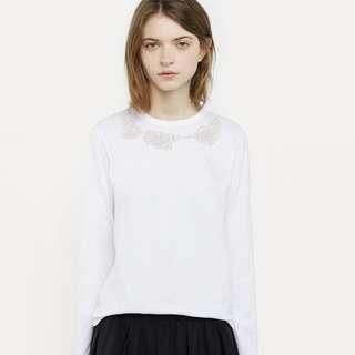 COMMES DES GARCON JUPE Winter white long sleeve cotton top M (10)