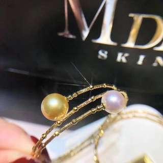 18k金日本制!超美雙層手鐲!謎一樣的切面超級閃!搭配10mm南洋金珠,8-8.5mm日本akoya珍珠,強光櫻花粉!