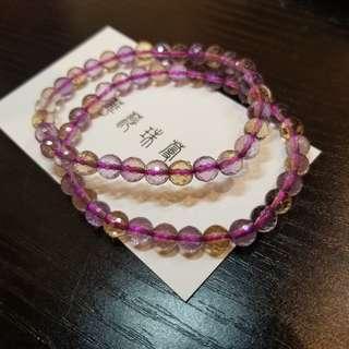 【紫黃晶刻面手串】