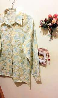 復古渲染感柔和風格花襯衫(復古、古著風)