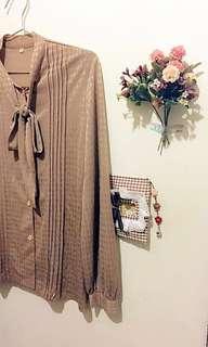 超美蝴蝶結綁帶古典氣質襯衫(復古、古著風)