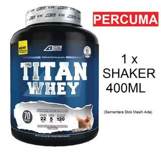 Agym Nutrition Titan Whey, Chocolate Milkshake, 2.1kg (Percuma Shaker Agym Nutrition)