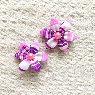 Girls' Pink / Purple Flower Hairclips