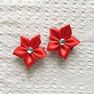 Girls' Red Flower Hairclips