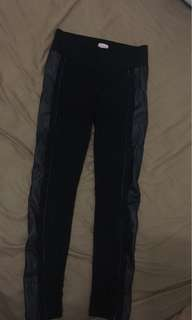 Leather side pants