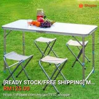 Meja lipat+4kerusi stool (Biru/Putih)