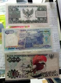 6 lembar uang kertas kuno rupiah