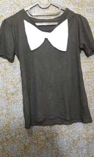 Black T Shirt with White Bow