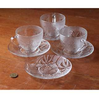 Flower Pressed-Pattern Glass Tea Set