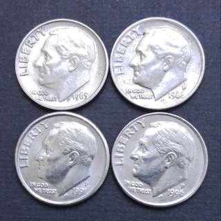 美國10美分 4枚不同年代硬幣