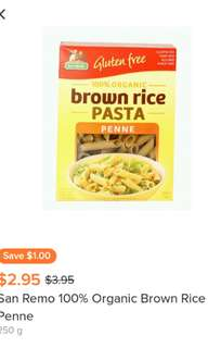 New 2 boxes of San Remo Gluten Free Brown Rice PASTA Penne