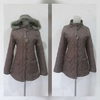 Green army anggora Quilted winter jacket