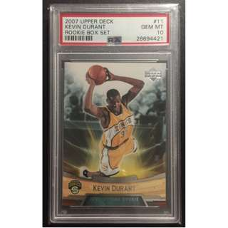 Kevin Durant Rookie Card 2007 Warriors Graded by PSA