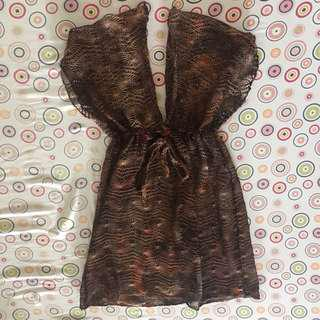 Brown crochet swimsuit cover-up