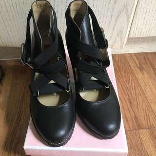 🚚 Aso芭蕾交叉綁帶高跟鞋
