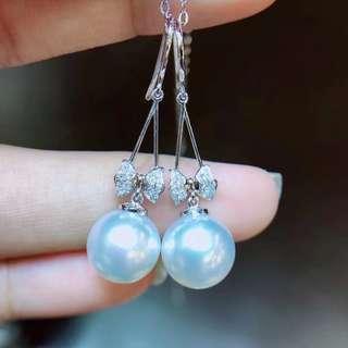 天然澳白 18k金鑽石鑲嵌高級珍珠耳環