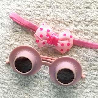 [Set] Girls' Pink Headband and Novelty Sunglasses