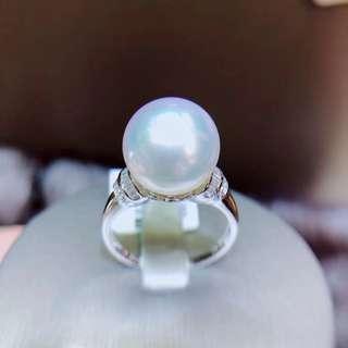 南洋澳白戒指 18k金鑽石鑲嵌高級珍珠