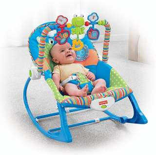BN Fisher-Price Infant-to-Toddler Bouncer Rocker, Blue/Orange/Green Frog ~US EXCLUSIVE~