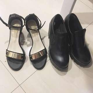 二手. 都只穿過1-2次: 露趾金屬一字扣跟鞋 靴子 粗跟