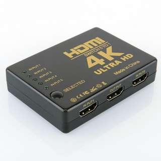 全新 4K HDMI Switch, 5 in 1 out HDMI Switch, 4K HDMI 5入1出切換器 分配器 分線器